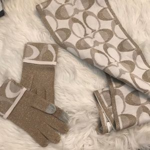 Gold coach reversible scarf and gloves set